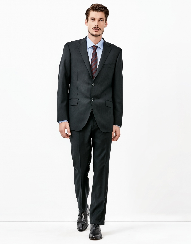 Black herringbone suit