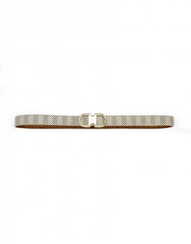 Cinturón geométrico beige