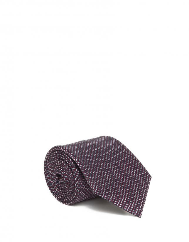 Navy and red checked tie