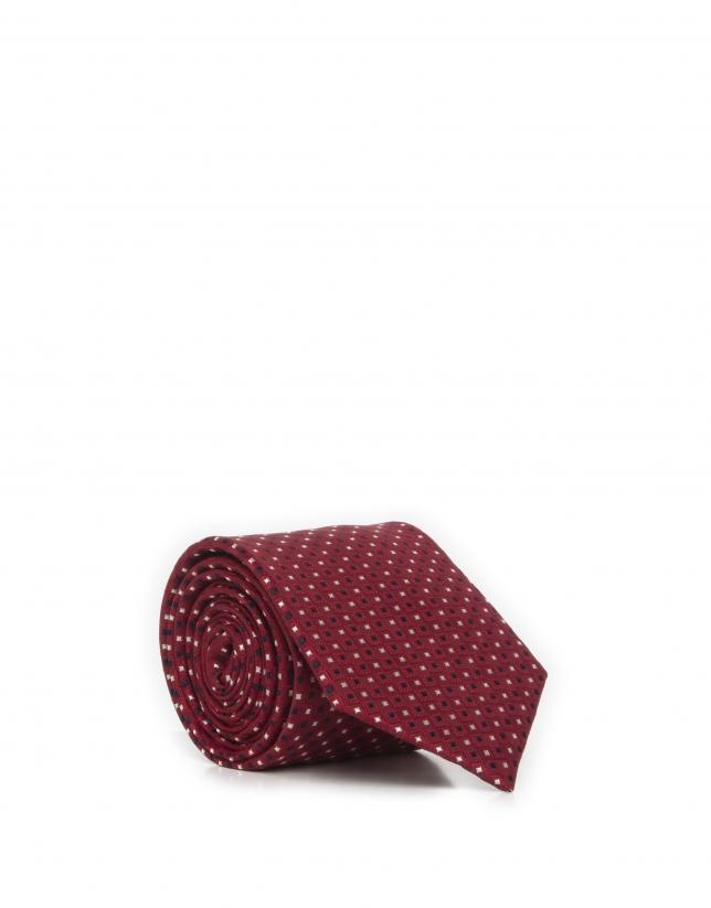 Cravate bleu et écrue à losanges