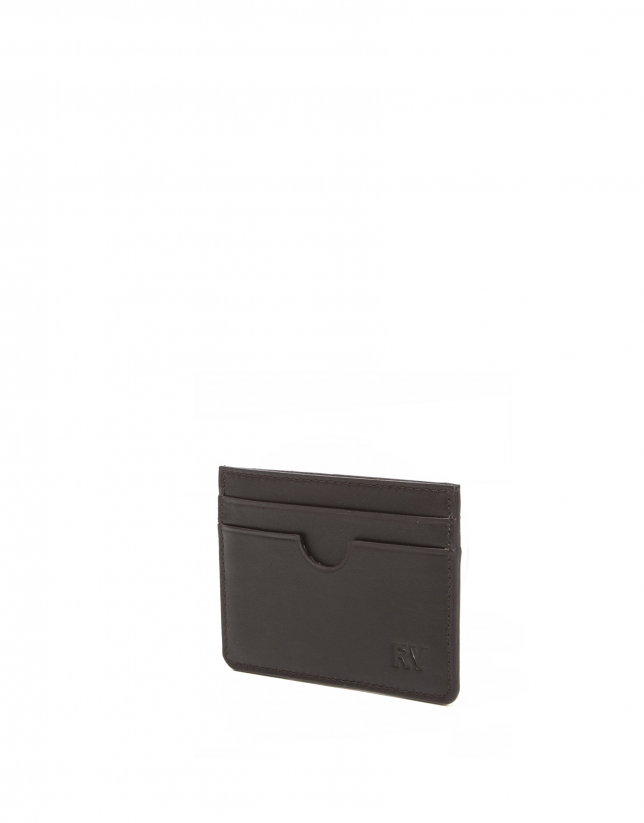 Men's brown leather card holder
