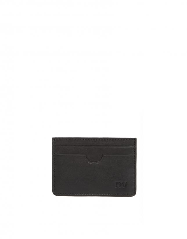 Men's black leather card holder