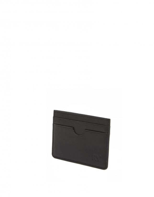Porte-cartes homme en cuir noir
