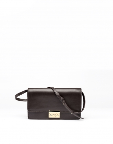 Sac shoulder/clutch Géraldine en cuir marron