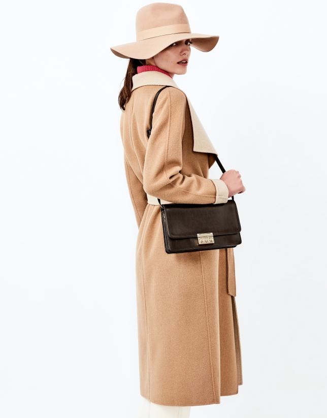 Sac shoulder/clutch Géraldine en cuir marron