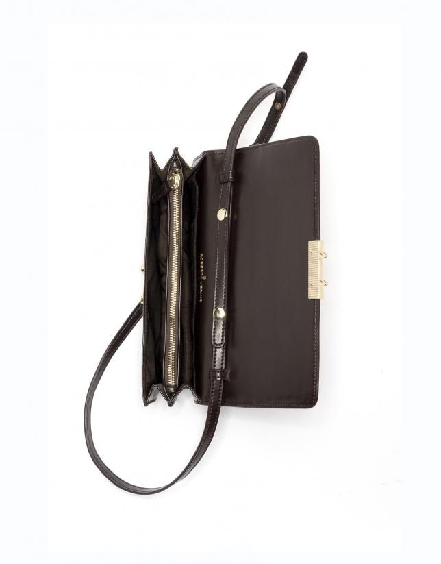 Brown leather Geraldine shoulder/clutch