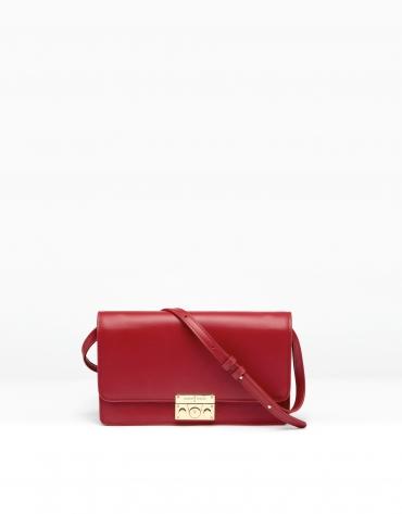 Bolso shoulder/clutch piel rojo Geraldine