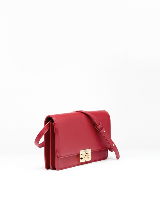 Sac shoulder/clutch Géraldine en cuir rouge