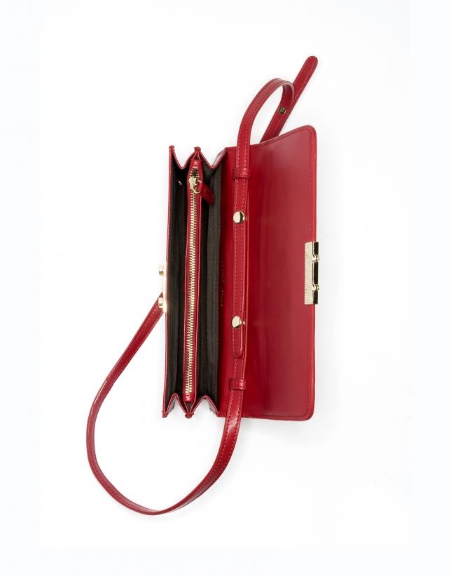 Sac shoulder/clutch Géraldine en cuir rouge