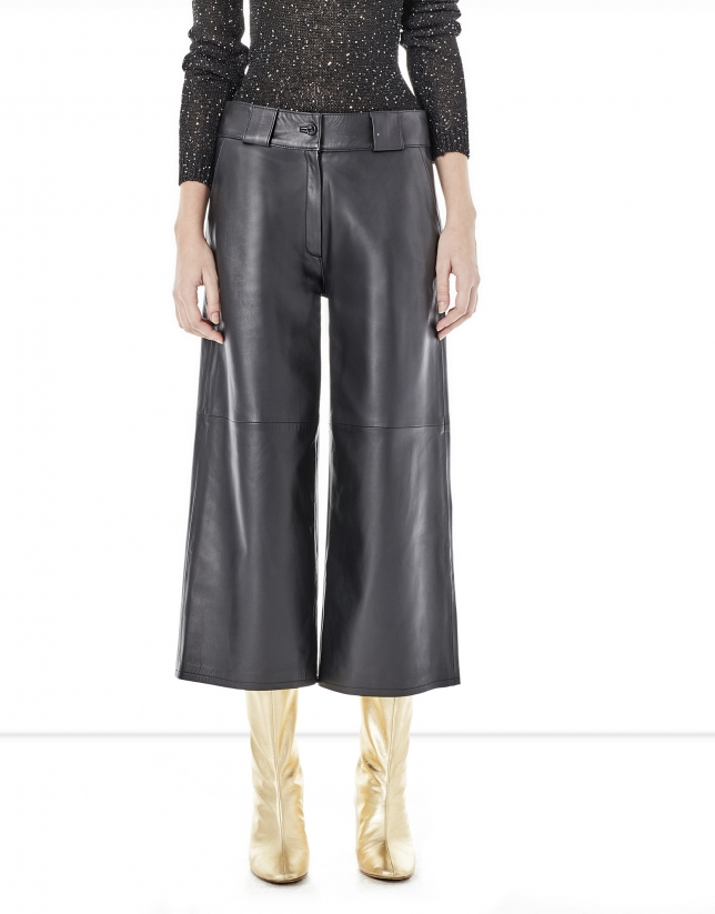 Black leather culottes