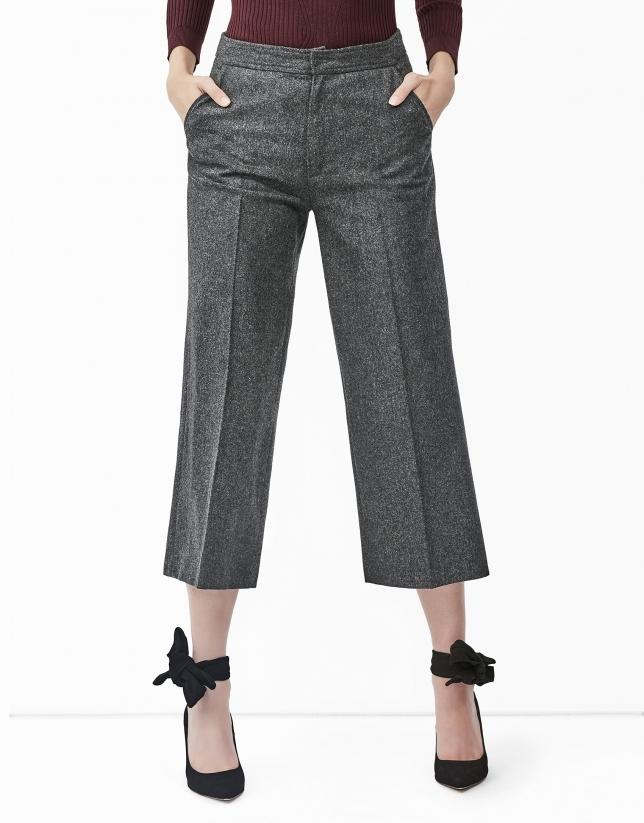Jupe-culotte couleur gris foncé