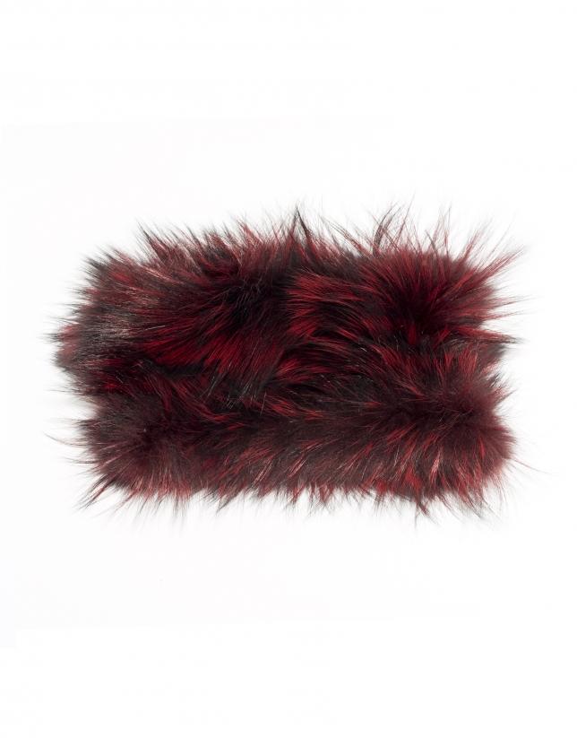 Tour de cou en peau de renard grenat