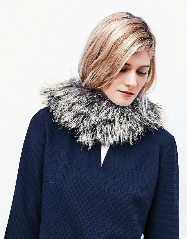 Ash gray fox fur collar