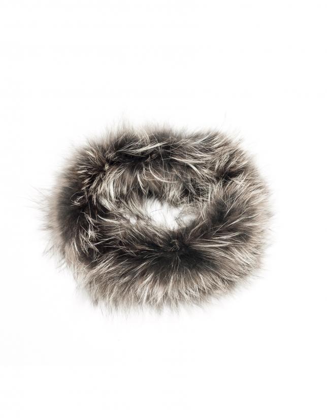 Tour de cou en peau de renard gris marengo
