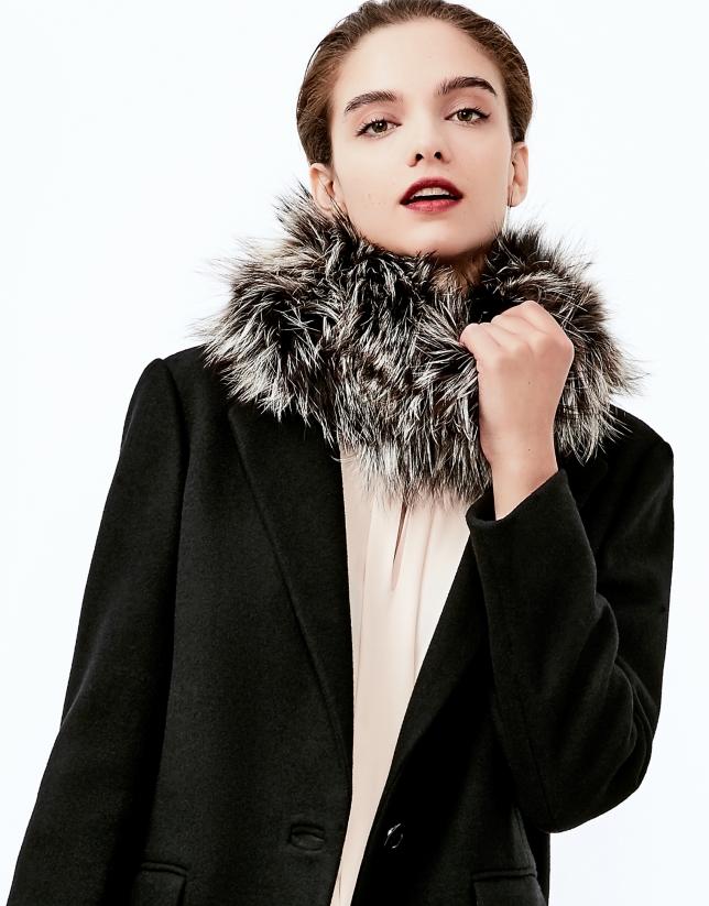 Charcoal gray fox fur collar
