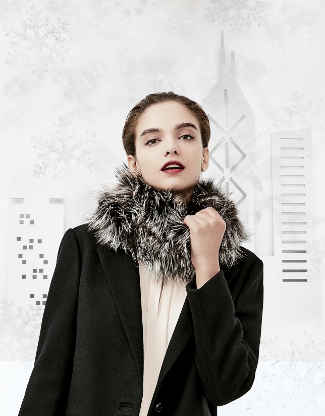 Charcoal gray fox fur collar