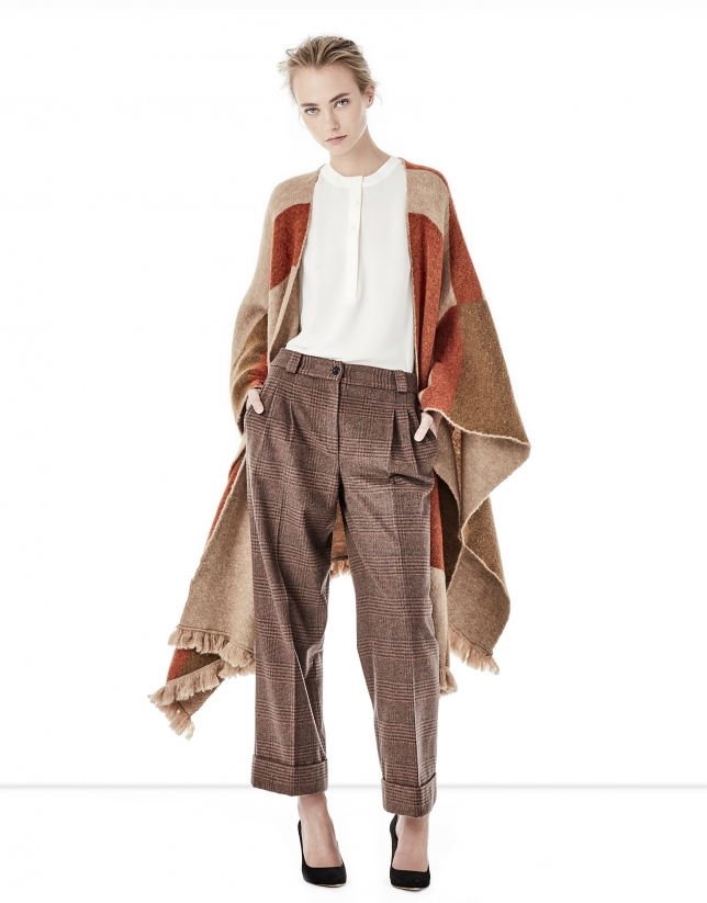 Brown geometric print cape