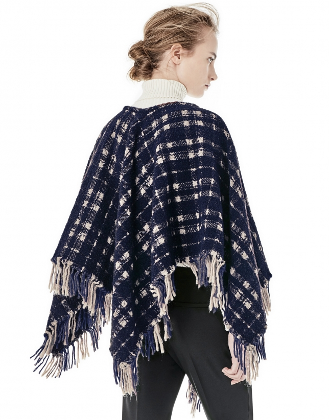 Blue / beige checked poncho