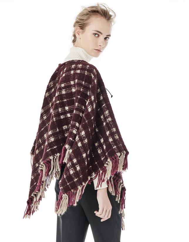 Burgundy / beige checked poncho