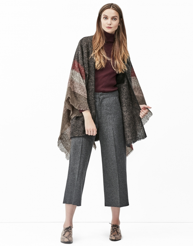 Brown checked poncho