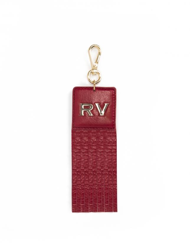 Charm carré à franges, en cuir vachette rouge