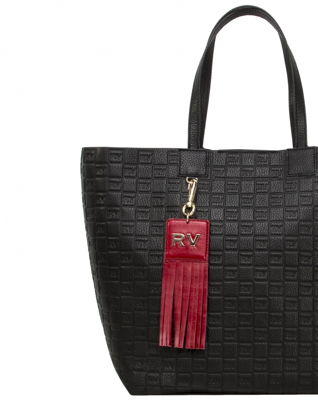 Red square leather charm with fringe