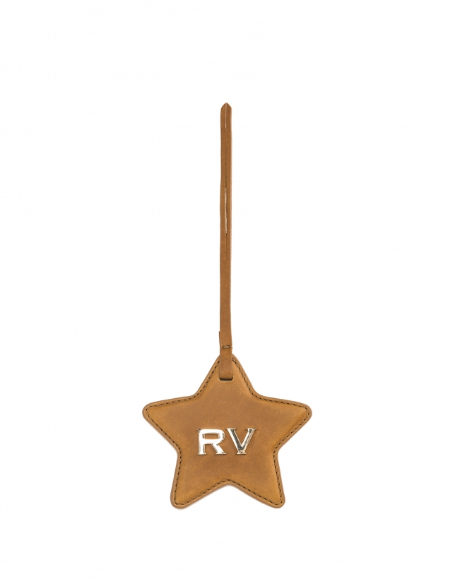 Camel star-shaped leather charm