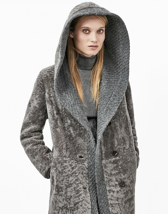 Grey lambskin fur three quarter jacket