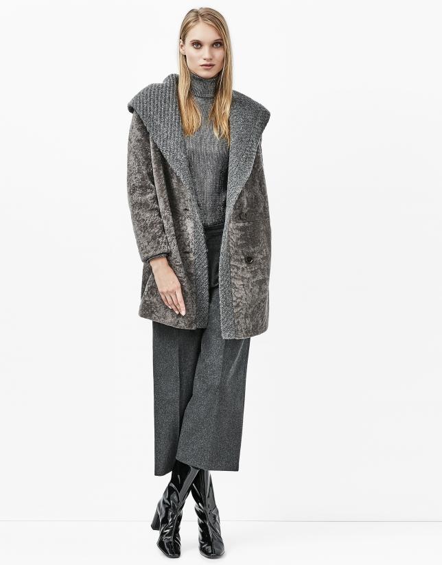Grey lambskin fur three quarter jacket