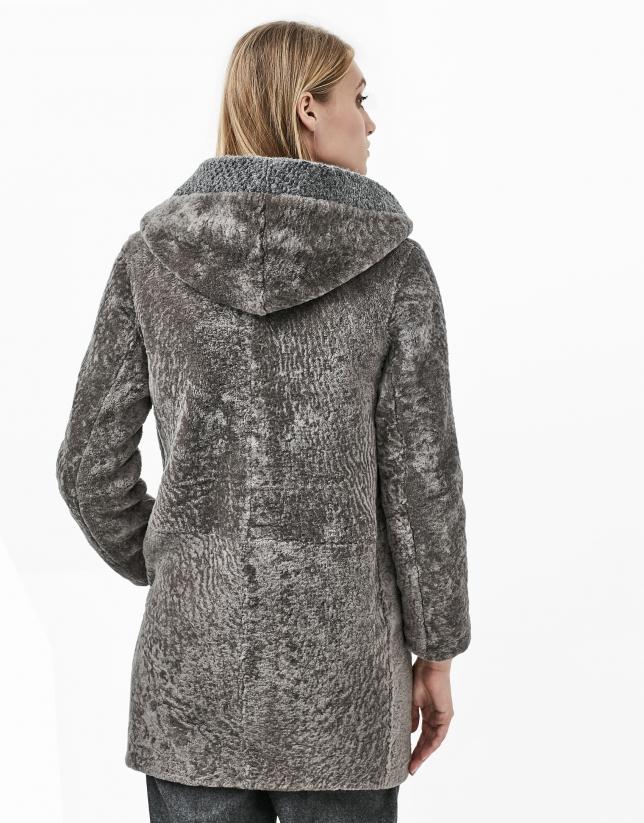 Blouson cuir d'agneau grise