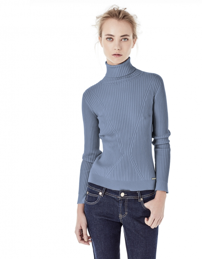 Light blue ribbed sweater