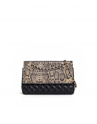 Beige embossed snakeskin Ghauri shoulder bag