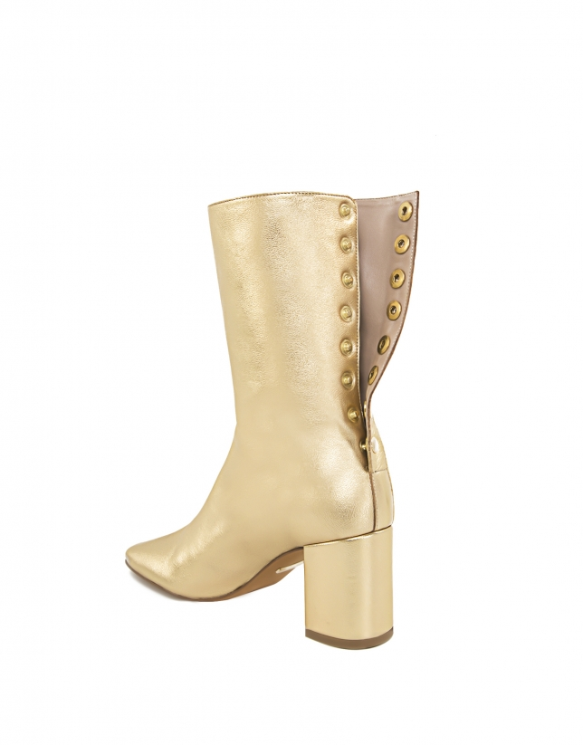 Montpellier gold leather ankle boots