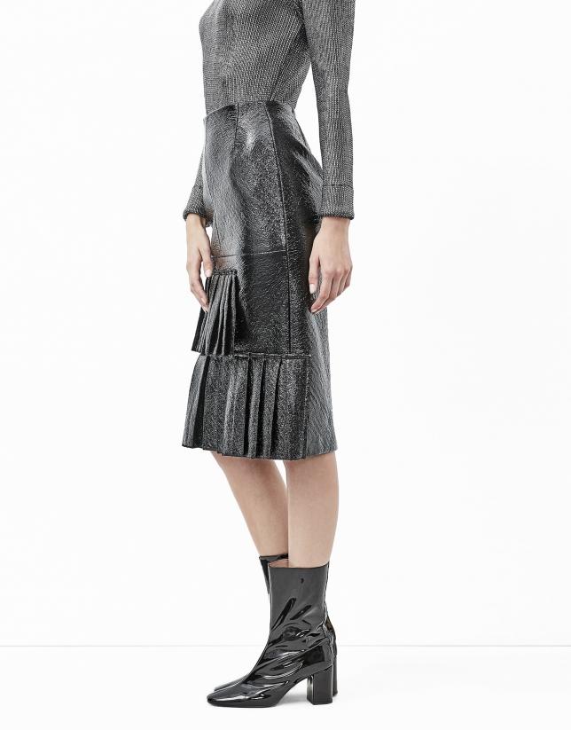 Black embossed alligator leather skirt