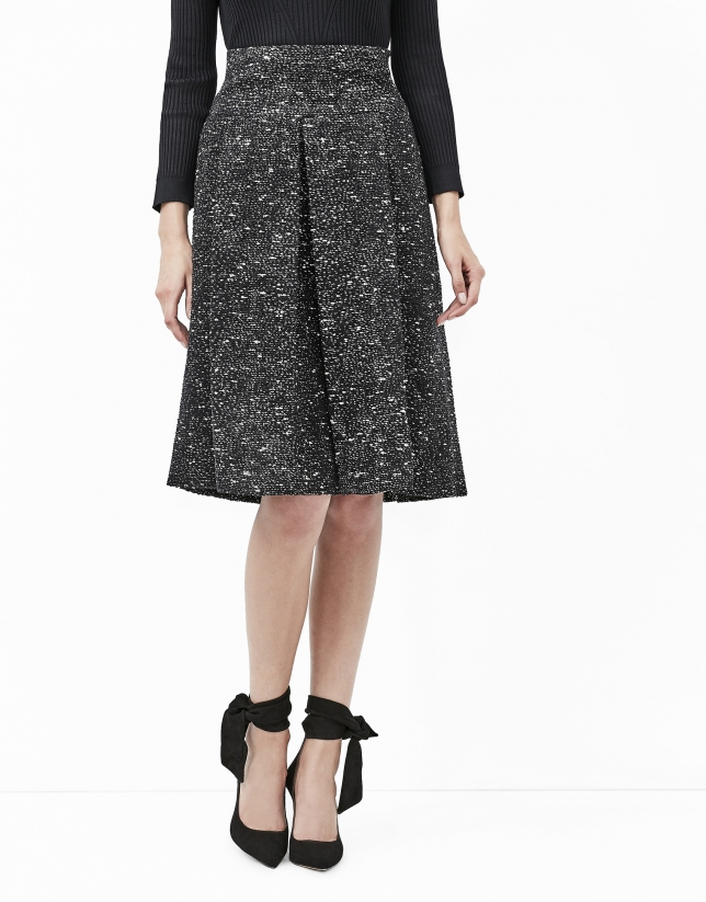 Black tweed midi skirt