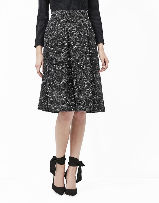 Falda midi tweed fantasía negra