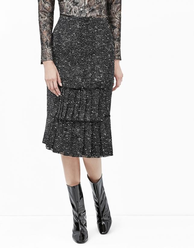 Falda tweed pliegues negra