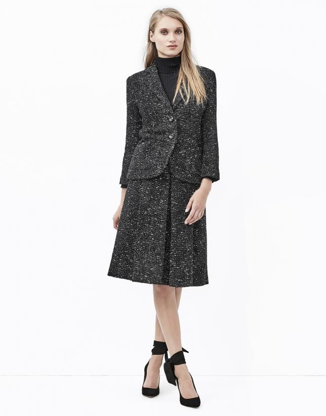 Falda midi tweed fantasía gris