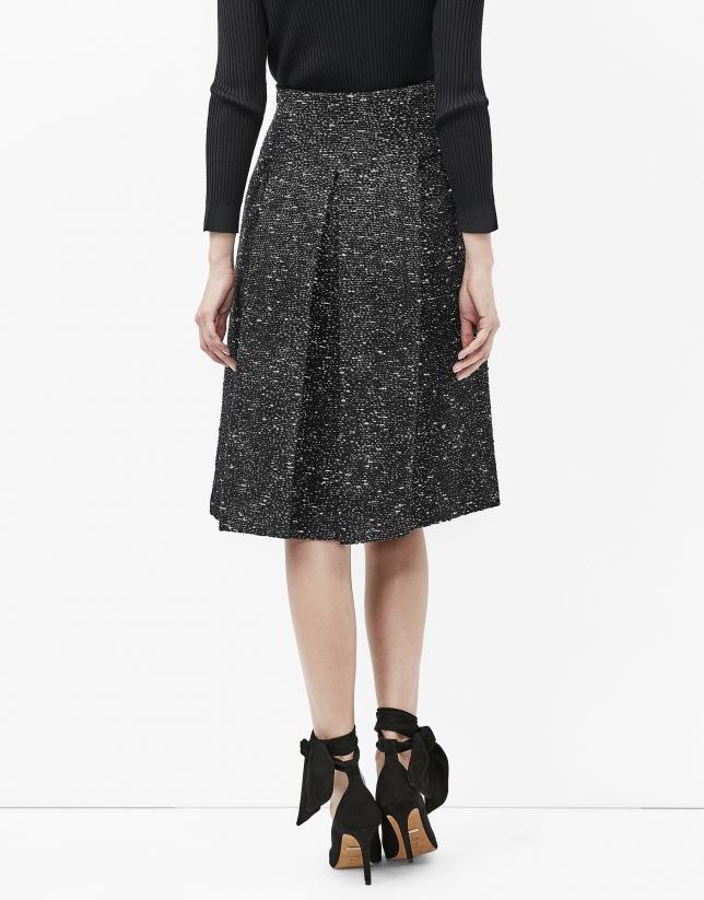 Grey tweed midi skirt