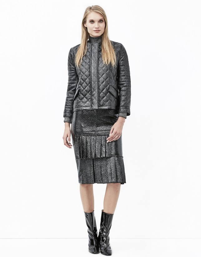 Black embossed alligator leather skirt