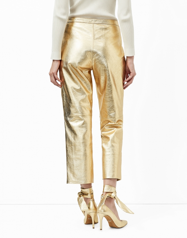 Metalized gold leather baggy pants
