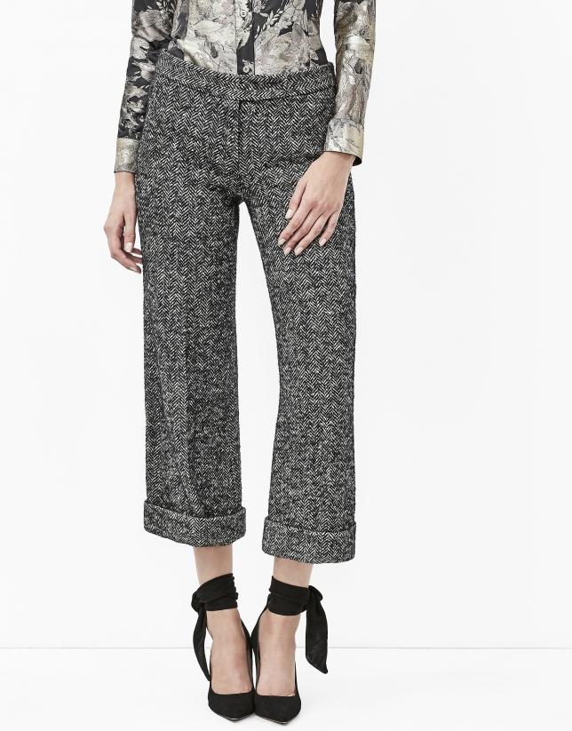 Jupe-culotte grise en tweed
