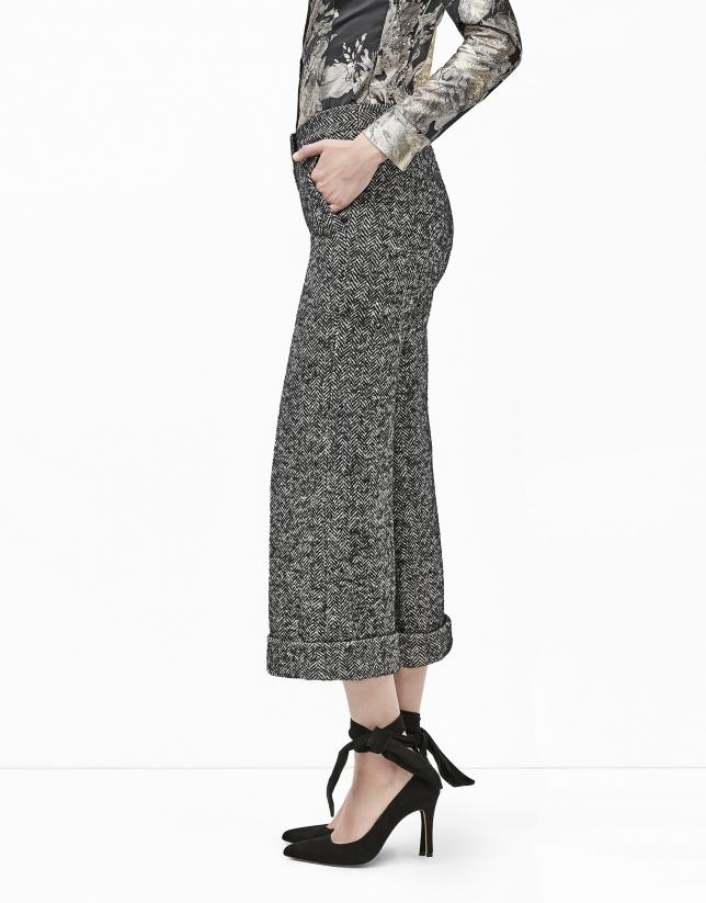 Pantalón culotte tweed gris
