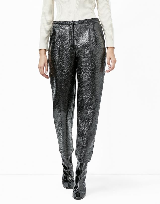 Pantalon noir baggy imprimé coco