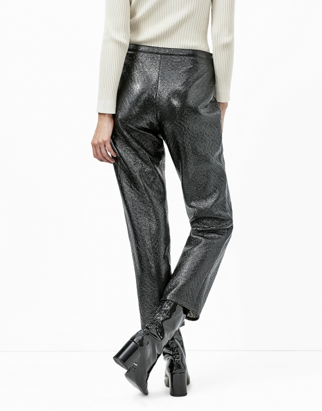 Black embossed alligator leather pants