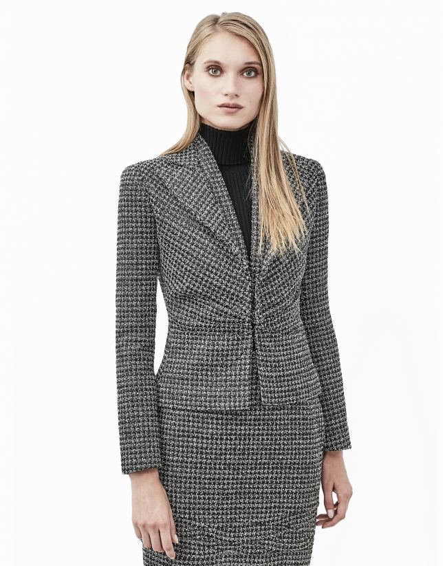Tweed jacket with puckering