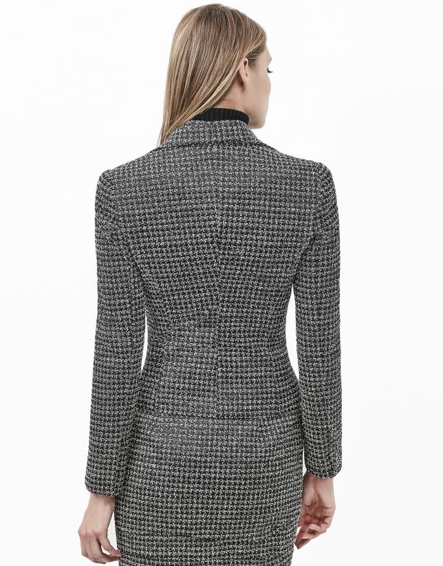 Tweed jacket with puckering