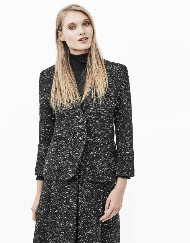 Veste gris en tweed fantaisie