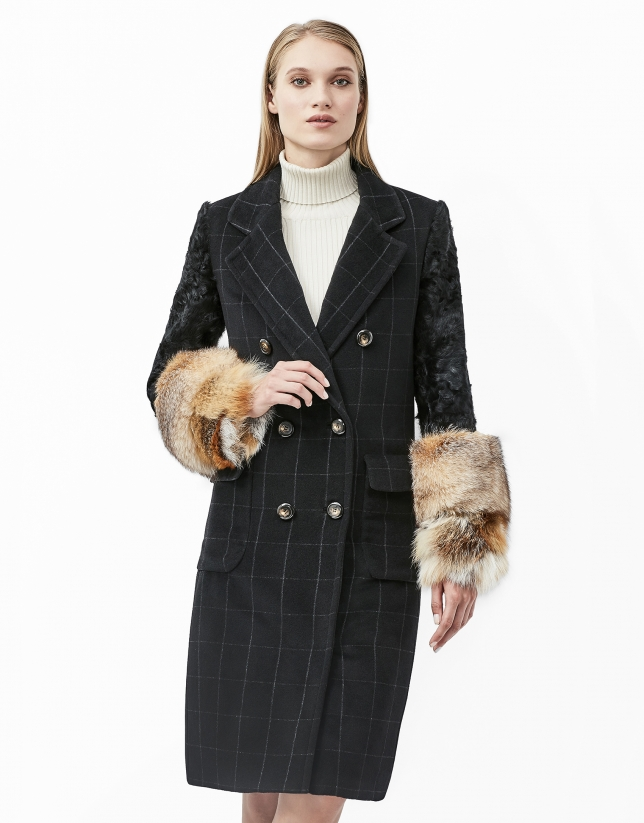 Black checked coat with fur sleeves