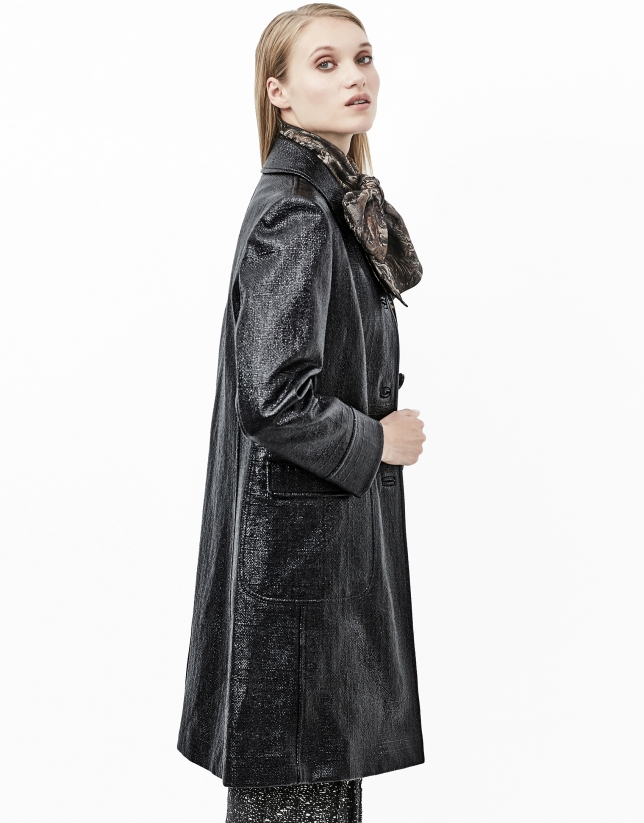 Black alligator leather embossed coat